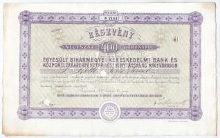 Nagyvárad 1911. Egyesült Biharmegyei Kereskedelmi Bank és Központi Takarékpénztár Részvénytársaság Nagyváradon részvénye szelvényekkel, lyukasztásokkal érvénytelenítve, bélyegzésekkel T:II