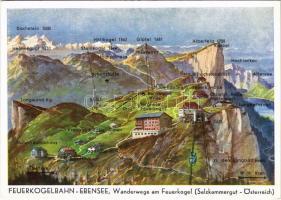 Ebensee, Feuerkogelbahn-Ebensee, Wanderwege am Feuerkogel (Salzkammergut) / aerial tramway, advertising card