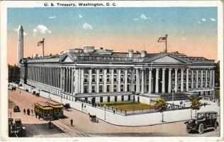 Washington (Washington, D.C.), US Treasury, trams, automobile, American flag (EK)