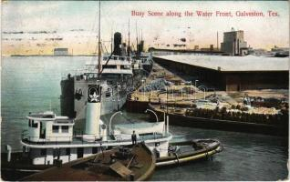 1908 Galveston (Texas), Busy scene along the Water Front, steamships, quay (EK)