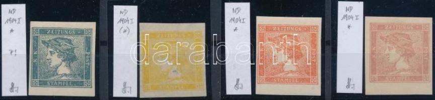 4 Newspaper stamps reprint. Identification: Strakosch, Hírlapbélyeg 4 db 1904-es újnyomata. Azonosítás: Strakosch