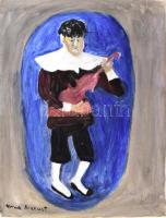 Anna Margit jelzéssel: A zenész. Olaj, papír. Jobb alsó sarkában kisebb töréssel. 40x30,5 cm