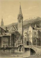 Brixen tyroli város látképe, acélmetszet, (J. M. Kolt metszette L. Lange festménye után), paszpartuban, üvegezett fa keretben, 18x13 cm