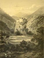 Runcelstein bei Bozen, Runkelstein kastély látképe Dél-Tirolban, acélmetszet, (J. Riegel metszette L. Lange festménye után), paszpartuban, üvegezett fa keretben, 18x14 cm