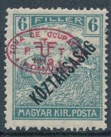 Debrecen 1919 Arató/Köztársaság 6f, Bodor vizsgálójellel (10.000)