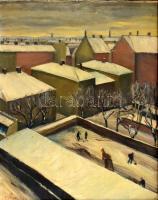 AB Tuege 1932 jelzéssel: Havas tetők felett. Olaj, vászon. Fa keretben. 58,5x47 cm