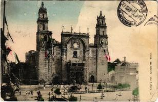 1913 Mérida (Yucatán), Cathedral de San Ildefonso / cathedral, renovation, Mexican flags (EM)