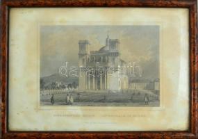 cca 1850 Ludwig Rohbock (1820-1883): Székesegyház Vácon, acélmetszet, jelzett a metszeten, foltos / Steel engraving, 14×18,5 cm Üvegezett keretben