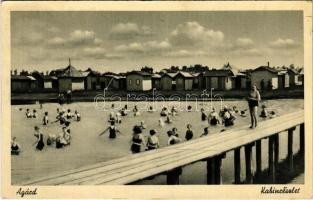 1942 Agárd (Gárdony), strand, fürdőzők, kabinok. Csajka Bazár kiadása