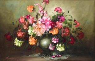 Bokor Imre jelzéssel: Virágok. Olaj, farost, fa keretben, 60×90 cm