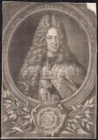 Christoph Weigel (1654-1725): VI. Károly német-római császár portréja. Mezzotinto, papír, jelzett a mezzotinton. Jobb felső sarkában sérült. 35x24,5 cm