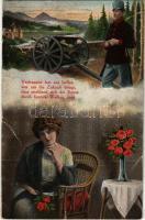Vertrauend lass uns hoffen was uns die Zukunft bringt / WWI Austro-Hungarian K.u.K. military art postcard, romantic couple. O.K.W. 485. (szakadás / tear)