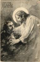 A harcok mezején velünk van az Ég is / WWI Austro-Hungarian K.u.K. military art postcard, injured soldier with Jesus (EB)