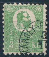 1871Kőnyomat 3kr sötétzöld, jó minőségű bélyeg (175.000)