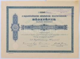 Hajdúböszörmény 1907. Hajdúböszörményi Kötszövőgyár Részvénytársaság részvénye 200K-ról, néhány szelvény, felülbélyegzéssel, szárazpecséttel T:I-
