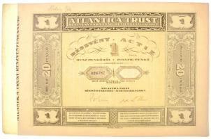 Budapest 1928. Atlantica Trust Részvénytársaság részvénye 20P-ről, magyar-német nyelven, szelvényekkel, szárazpecséttel T:I-,II szélén kis szakadás