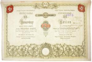 Salgótarján 1944. Salgó-tarjáni Kőszénbánya Részvény-Társulat részvénye 750P-ről, szelvényekkel, bélyegzéssel és szárazpecséttel T:II,II- szélén kis szakadás