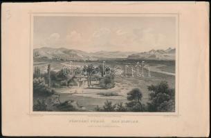 Ludwig Rohbock (1820-1883): Pöstyénfürdő, acélmetszet, jelzett a metszeten,szélén kis szakadások, 11x17 cm
