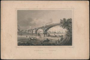cca 1864 Ludwig Rohbock (1820-1883) - J. Riegel: Szegedin-Szeged. A képen vasúti híddal. Papír, acélmetszet, jelzett a metszeten, kissé foltos, 13x17 cm