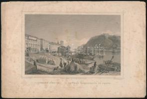 Ludwig Rohbock (1820-1883): Aldunasor Pesten / Untere Donauzeile in Pesth, acélmetszet, jelzett a metszeten, foltos, 13x17 cm