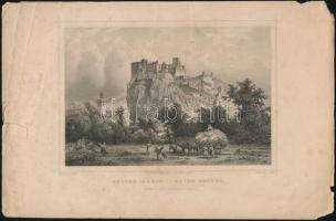 Ludwig Rohbock (1820-1883) - J. Riegel: Beczko várrom / Ruine betzko, acélmetszet, jelzett a metszeten, szakadással, hiánnyal, 13x17 cm