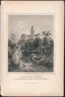 cca 1860 Ludwig Rohbock (1820-1883): A Pannonhalmi főapátság, acélmetszet, jelzett a metszeten, kis szakadással, 18x13 cm