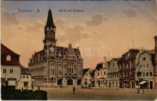 1917 Frydlant, Friedland; Markt mit Rathaus / market, town hall, shops. Druckerei Franz Ferd. Feix (EB)