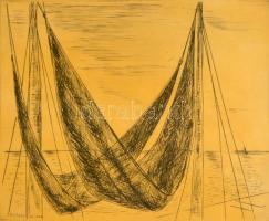 Borsos Miklós (1906-1990): Balatoni halászhálók. Rézkarc, papír, jelzett, üvegezett fa keretben, 24x29 cm