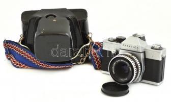 Praktica L , Zeiss Tessar f/2.8, 50 mm objektív, eredeti tokban, vászon szíjjal.