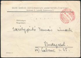 1941 Meghívó Baár-Madas Református Leánynevelőintézet 24. Tisza Ilona cserkészleánycsapatának és 158. Gyöngyvirág Tündérke cserkészcsapatának cserkész avatására és karácsonyi ünnepélyére, törésnyomokkal és lap tetején apró szakadással, 11x15 cm