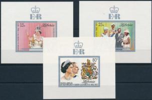 1977 II. Erzsébet királynő sor vágott blokkformában, Elizabeth II. set in imperforated blockform Mi 1038-1040
