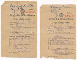 1953. Negyedik Békekölcsön 50Ft névértékű kitöltött jegyzésigazolás (2x) T:III