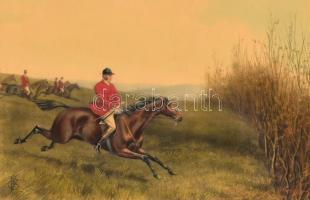 Cecil Boult (1819-1895) festménye után: Riding to sell (lovaglás). Színes litográfia, papír, kasírozva. Üvegezett fa keretben. 19,5x29,5 cm