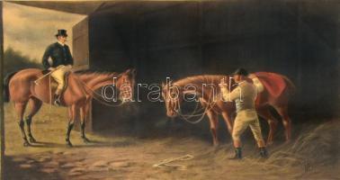 Cecil Boult (1819-1895) festménye után: I should say your horse woulkd die. Színes litográfia, papír, kasírozva, lap alján szakadással, lap jobb szélén folttal. Üvegezett fa keretben. 19,5x29,5 cm