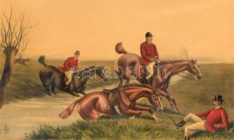 Cecil Boult (1819-1895) festménye után: Line, Sir, line!. Színes litográfia, papír, kasírozva, lap jobb szélén szakadással. Üvegezett fa keretben. 19,5x29,5 cm