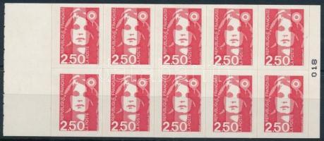 Forgalmi bélyeg: Marianne bélyegfüzet lap, Definitive stamp: Marianne stamp-booklet sheet