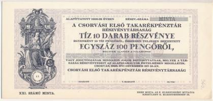 Csorvás 1928. Csorvási Első Takarékpénztár Részvénytársaság 10db részvénye összesen 100P-ről, Minta T:I