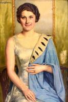 Angyalffy Erzsébet (1861-1940): Art deco hölgy arcképe, 1932. Olaj, vászon, jelzett, hátoldalán autográf felirattal. Helyenként apró foltokkal a vásznon. Sérült fa keretben, 87x67 cm