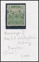 Baranya II. 1919 Magyar Posta 5f értékjelzés nélkül, elcsúszott felülnyomással és Bodor vizsgálójellel (**6.000)