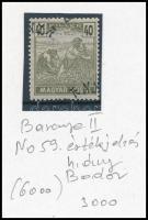 Baranya II. 1919 Magyar Posta 40f értékjelzés nélkül, elcsúszott felülnyomással és Bodor vizsgálójellel (**6.000)