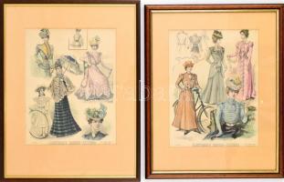 1898-99 Illustrirte Frauen-Zeitung 2 db divat illusztrációja. Színes fametszet, papír, üvegezett fa keretben, 30,5x24 cm
