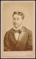 cca 1871 Pest, Bülch Ágoston királyi udvari fényképiró műtermében készült, keményhátú vintage fotó, 10,5x6,4 cm