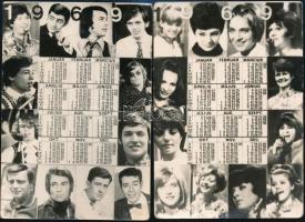 1969 2 db táncdalénekeseket ábrázoló kártyanaptár