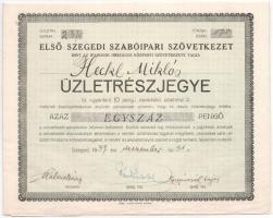 Szeged 1937. Első Szegedi Szabóipari Szövetkezet üzletrészjegye 100P-ről, szelvényekkel T:II