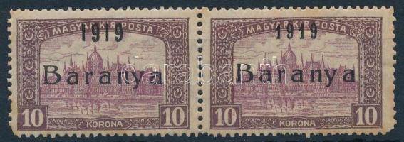 Baranya I. 1919 Parlament 10K pár Bodor vizsgálójellel, egyik érték antikva számokkal (49.500) (rozsda, sarokhibák / stain, missing corners)