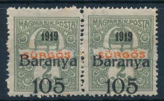 Baranya I. 1919 Sürgős 105f/5f pár antikva számokkal, mindkét bélyeg Bodor vizsgálójellel (19.200) (rozsda / stain)