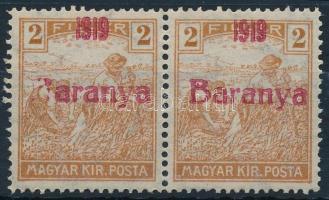 Baranya I. 1919 Arató 2f pár, a bal oldali bélyegen aranya tévnyomat, Bodor vizsgálójellel