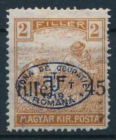 Debrecen I. 1919 Arató 45f/2f nagyon látványosan elcsúszott felülnyomással, Bodor vizsgálójellel