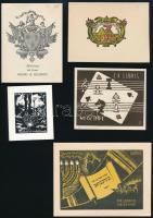 Vegyes ex libris-tétel, 7 db. Közte címeres, judaikai Különféle nyomótechnikákkal, 13x9 cm és 7x6 cm közötti méretben. .