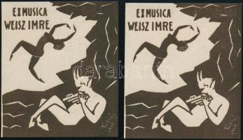 Tóbiás jelzéssel: Ex musica Weisz Imre, 2 db ex libris, táncoló meztelen női alakkal, zenélő pánnal, fametszet, papír, 10,5×9 cm